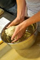 Buckwheat flour dough about to be prepared into soba noodles.